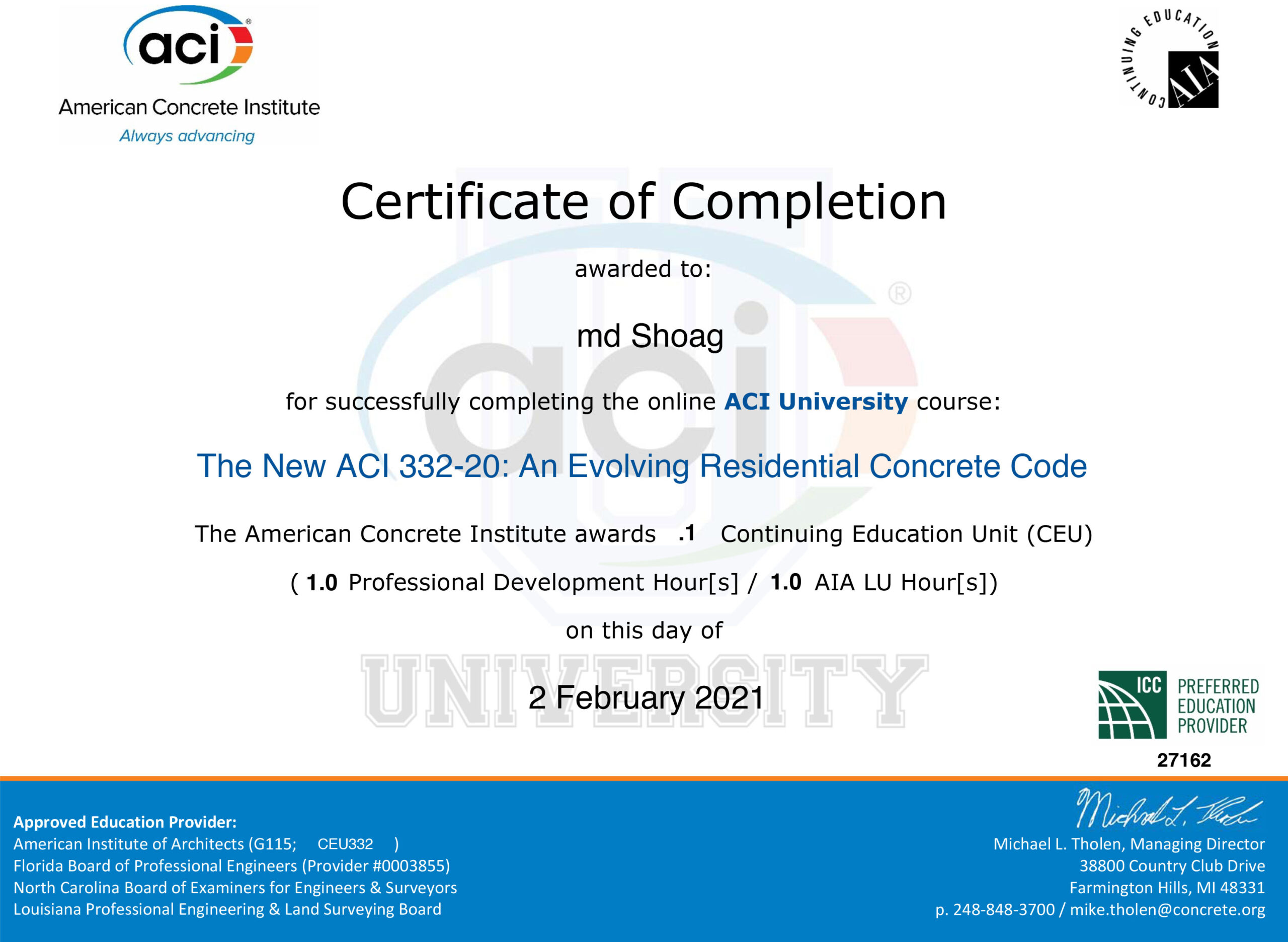 Completion Certificate_ The New ACI 332-20_ An Evolving Residential Concrete Code